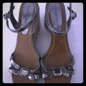 Size 10 Franco Sarto wedges with gems good cond